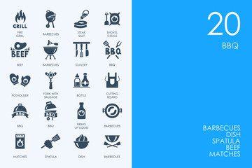 Set of BLUE HAMSTER Library BBQ icons