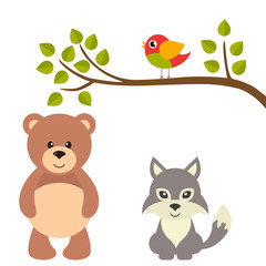 cartoon bird on a branch and bear and wolf