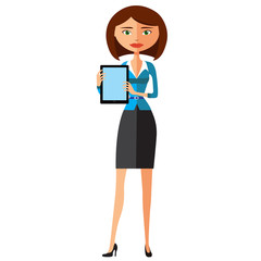 Business woman showing something important on the tablet vector cartoon illustration.