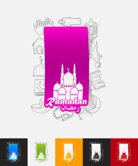 mosque paper sticker with hand drawn elements