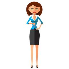 Angry unhappy woman thumbs down vector flat cartoon illustration