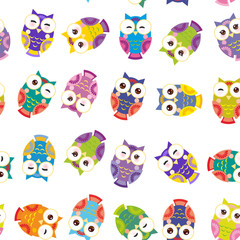 Seamless pattern - bright colorful owls on white background. Vector