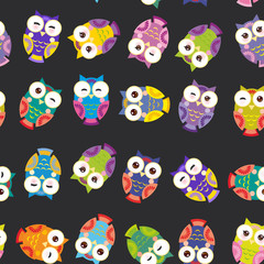Seamless pattern - bright colorful owls on black background. Vector