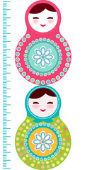 Russian dolls matryoshka on white background, pink and blue colors Children height meter wall sticker, kids measure, Growth Chart. Vector