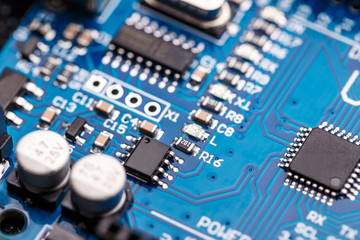 Microprocessor on blue circuit board