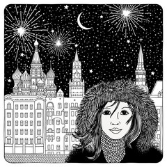 Night sky over Moscow - artistic black and white illustration of houses, cathedrals, fireworks and a girl