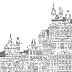 Prague, Czech Republic - hand drawn black and white illustration with space for text