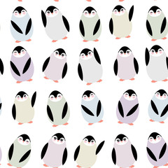 Funny penguins on white background seamless pattern. Vector
