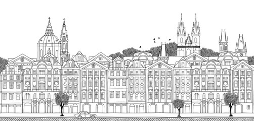 Prague, Czech Republic - seamless banner of Prague's skyline, hand drawn black and white illustration