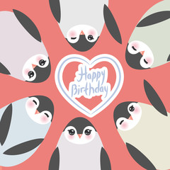 happy birthday, Funny penguins on pink background card template. Vector