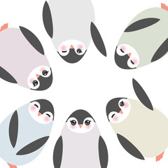 Funny penguins on white background card template. Vector