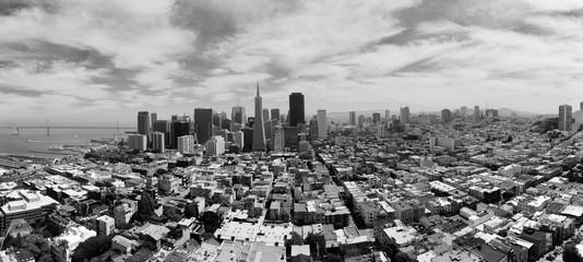 Panorama view over skyline of San Francisco, California, USA