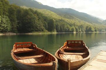 Pier and boats in Lake Biograd,Biogradska Gora national park