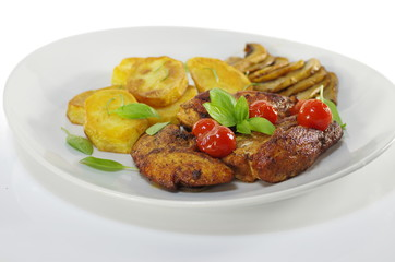 fried meat and chips