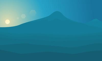 Big mountain at sunrise landscape of silhouette