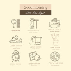 Good morning thin line vector icon set