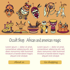 Voodoo magic web template. Mystic card with place for your text.