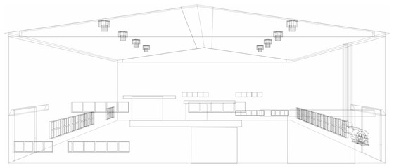Wire-frame industrial building. Vector