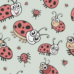 Funny bugs, ladybird and insects seamless vector texture. Childr