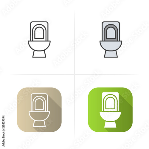 """Toilet icon. Flat design, linear and color styles."" Stock ..."