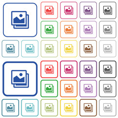 Pictures color outlined flat icons