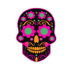 Skull vector ornament neon color with flower eyes icon neon color
