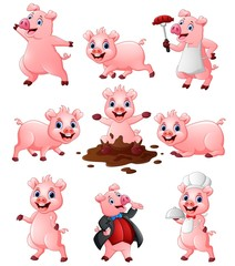 Happy pig cartoon collection set