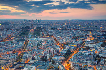 Paris. Aerial view of Paris at sunset. View from Montparnasse Tower.