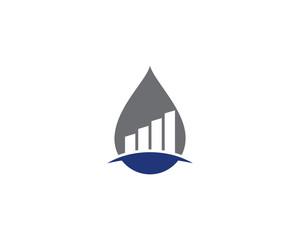 Oil Water Drop & Chart Bar Logo