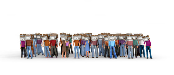 Mass media concept. Crowd of people with old tv instead head, is