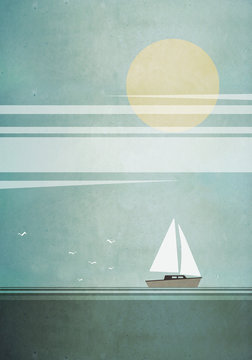 Illustration of boat sailing in sea on sunny day
