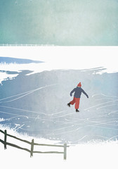 Illustration of man ice skating on frozen lake