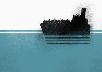 Illustration of people in ship on sea