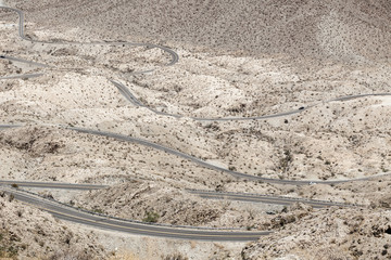 High angle view of Highway 74, Palm Desert, California, USA