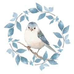 Cute bird with floral wreath. Watercolor painting 1