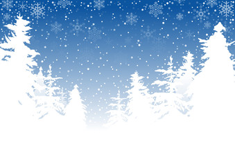 Winter Landscape and Falling Snow - Background Illustration, Vector