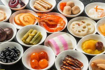 典型的なおせち料理 General Japanese New Year dishes(osechi)