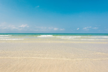 Wall Mural - Breathtaking turquoise sea, Exotic beach with gentle wave and cl