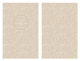 Two olives on branch with leaves isolated on gray. Vintage card with olives. Book cover with olive texture. Sepia lines over white background. Vector illustration.