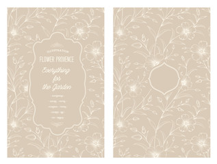 Wedding flower cover with flowers over sepia background. Cherry blossom pattern. Flower invitation card. Vector illustration.