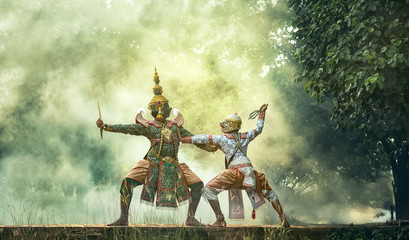 Khon is traditional dance drama art of Thai classical masked, this performance is Ramayana epic