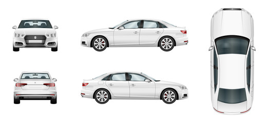 Car vector template on white background. Business sedan isolated. Separate groups and layers. Fototapete