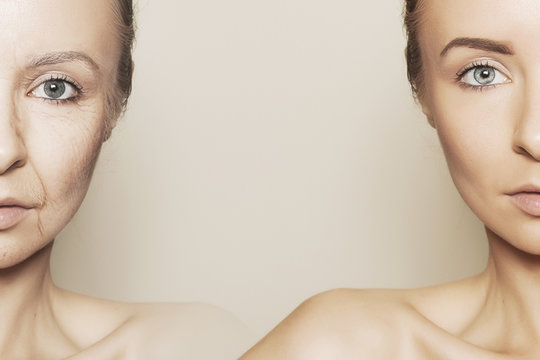 two halves of woman face - the old and the young one
