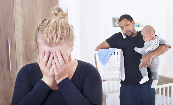Husband overwhelmed by taking care of everything alone, because his wife is suffering from postpartum depression