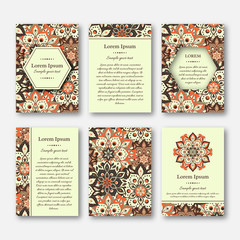 Set of cards, flyers, brochures, templates with hand drawn mandala pattern. Vintage oriental style. Indian, asian, arabic, islamic, ottoman motif. Vector illustration.