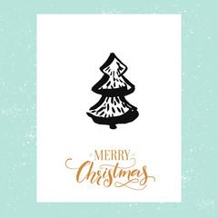 Minimalistic Christmas greeting card with hand drawn Christmas tree. Vector design template with calligraphy type.