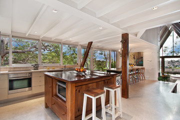 Modern gourmet kitchen interior. spacious great room