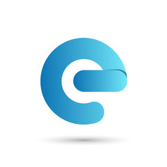 Letter e with blue color on white background