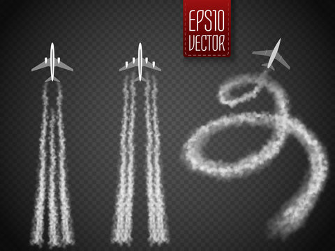 Vector Airplane with condensation trail illustration.