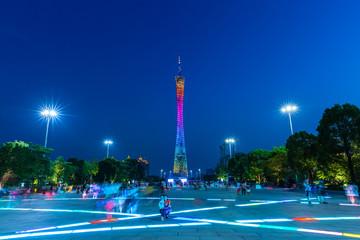 Canton tower at dusk, China